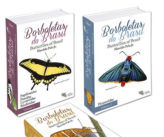 """Os três volumes da obra """"Borboletas do Brasil"""", uma enciclopédia sobre todas as espécies conhecidas em nosso território (Foto: Editora Vento Verde)"""