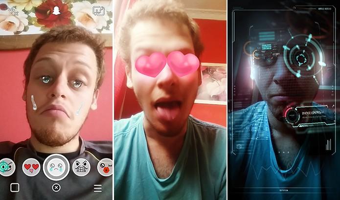Snapchat lensens traz diferentes efeitos para usuários que são substituídos a cada 24 horas (Foto: Reprodução/Elson de Souza)
