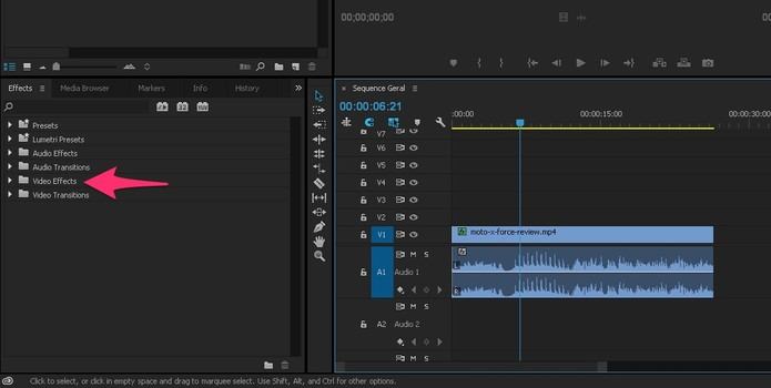 Abra a opção Video Effects no Adobe Premiere (Foto: Reprodução/Lucas Mendes)