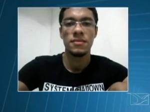 Estudante Allyson Medeiros, de 24 anos, é natural de Caxias (Foto: Reprodução/TV Mirante)