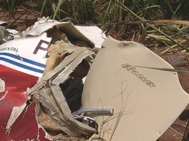 Avião ficou completamente destruído com a queda (Foto: Reprodução/TV TEM)