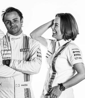 Felipe Massa em ensaio com Susie Wolff e Claire Williams (Foto: Divulgação)