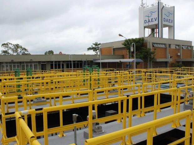 Valinhos iniciou testes em novo módulo de estação de tratamento, no Jardim Pinheiros (Foto: Wagner Faneco / Daev)