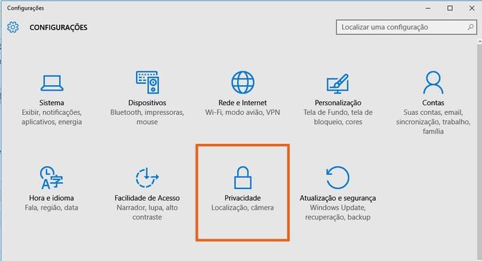 Clique no botão de privacidade nas configurações do PC (Foto: Reprodução/Barbara Mannara)
