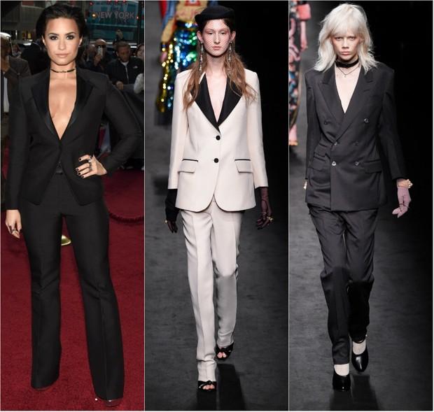 Alfaiataria foi destaque no desfile da grife Gucci na semana de moda e é look preferido de Demi Lovato no tapete vermelho (Foto: Getty Image)