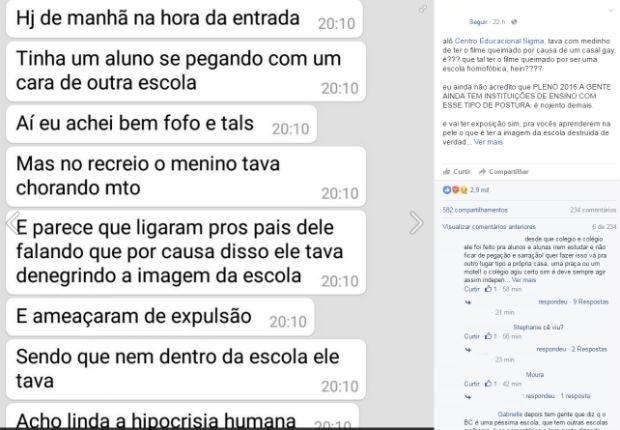 Postagem em rede social denuncia conduta de coordenadores do colégio Sigma, na Asa Norte (Foto: Facebook/Reprodução)
