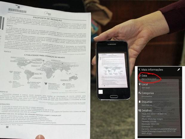 Estudante mostra imagem de suposto tema da prova de redação do Enem horas antes da prova. No detalhe, dados do arquivo indicam a hora do recebimento (Foto: Gilcilene Araújo/G1)