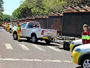 Equipes atuarão com aproximadamente 80 viaturas na BR-163 (Foto: Tatiane Queiroz/ G1 MS)