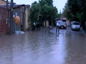 Chuva da madrugada voltou alagar bairros em Catanduva. Rio Preto (Foto: Reprodução / TV TEM)