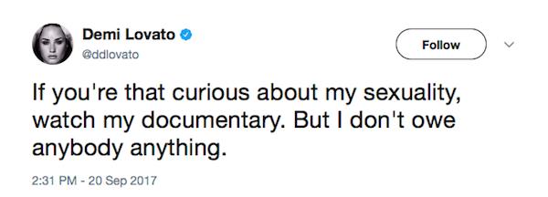 Uma das respostas de Demi Lovato em relação aos questionamentos sobre sua orientação sexual (Foto: Twitter)