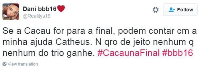 Tweet - Cacau Torcida (Foto: Reprodução da Internet)
