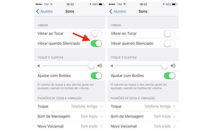 Desativando a opção de vibrar quando silenciado do iPhone (Foto: Reprodução/Marvin Costa)