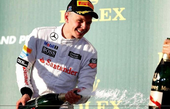 Kevin Magnussen no pódio do GP da Austrália (Foto: Divulgação/McLaren)