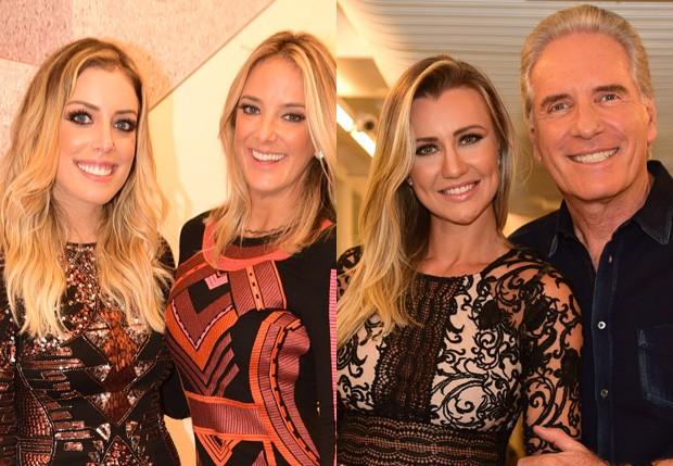Roberto Justus e a mulher, Ana Paula Siebert; e Fabiana Justus com Ticiane Pinheiro (Foto: Leo Franco/AgNews)