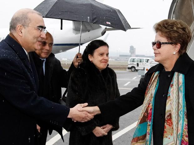 A presidente Dilma Rousseff, na chegada a Zurique (Suiça) nesta quarta (23) (Foto: Roberto Stuckert Filho / PR)