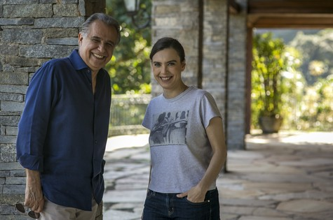 Roberto D'Avila e Adriana Calcanhotto (Foto: Paulo Belote/ TV Globo)