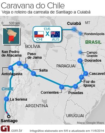 Mapa Caravana do Chile Giovana