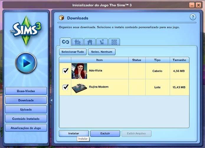 Instale o conteúdo do The Sims 3 (Foto: Reprodução/Murilo Molina)