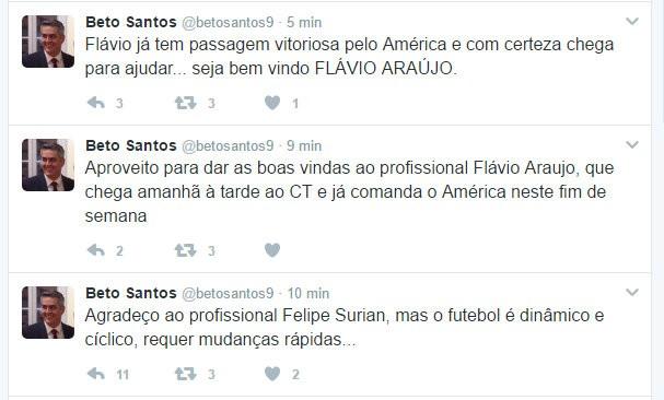 Beto Santos twitter América-RN