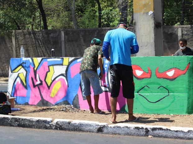 Arte nas ruas (Foto: Juliana Barros/G1)