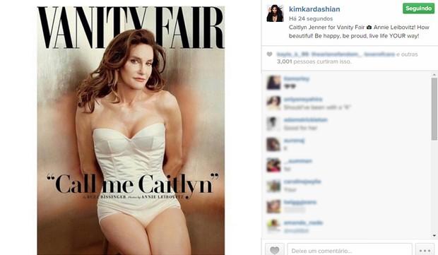 Kim Kardashian comenta a capa de Caitlyn Jenner (Foto: Instagram / Reprodução)