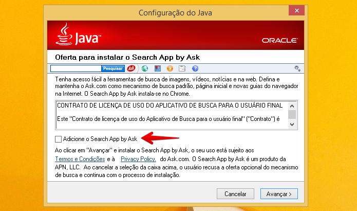 Instalando a última versão do Java (Foto: Reprodução/Helito Bijora)