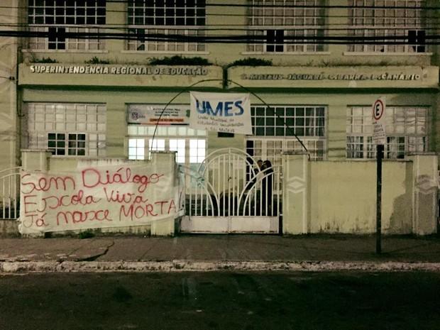 Alunos de São Mateus protestam contra o projeto Escola Viva (Foto: Facebook / UMES - São Mateus)