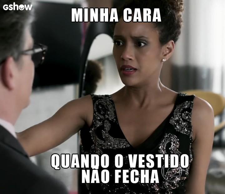 Michele fica chocada ao ver que vestido não fechou (Foto: TV Globo)