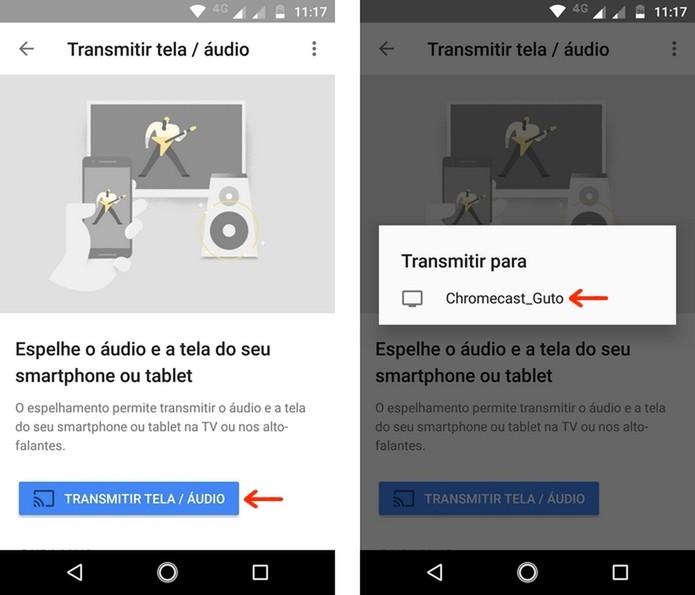 Seleção do dispositivo conectado ao Chromecast no app Google Home (Foto: Reprodução/Raquel Freire)