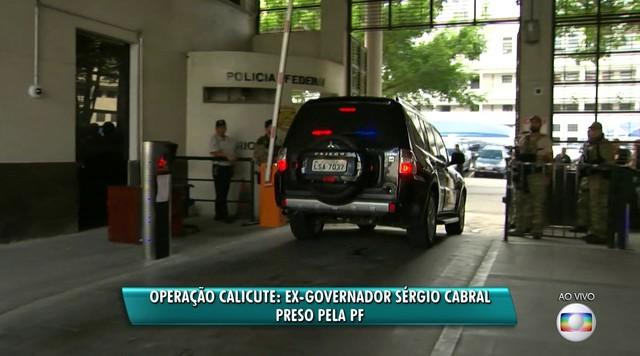 Ex-governador Sérgio Cabral chega na sede da Polícia Federal, no Rio