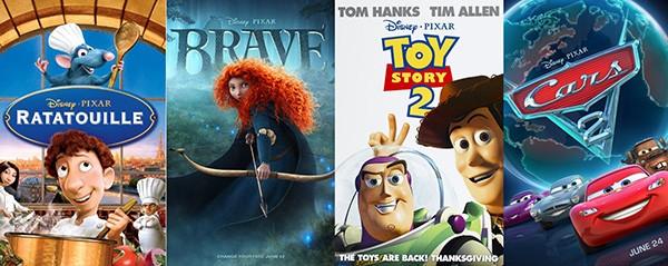 Ratatouille (2007) / Valente (2012) / Toy Story 2 (1999) / Carros 2 (2011) (Foto: Divulgação)