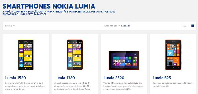Linha Lumia tem vários produtos à venda no Brasil (Foto: Reprodução/Nokia)