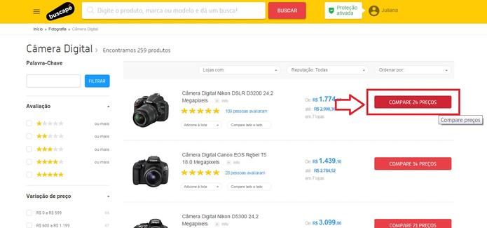 Clique em Comparar preços (Foto: Reprodução/Juliana Pixinine)