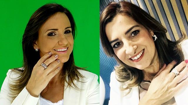 As apresentadoras Adriana Cutino e Melissa Paiva (Foto: TV Tribuna)
