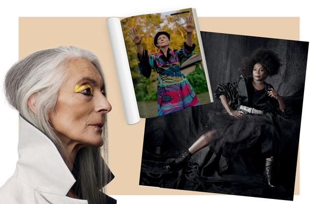 À direita, Maye Musk em editorial de moda da edição de agosto e Zezé Motta posando para as lentes de Miro. À esquerda, foto da reportagem O fim do anti-aging (Foto: Divulgação )