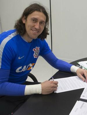 Cássio contrato Corinthians (Foto: Daniel Augusto Jr. / Agência Corinthians)