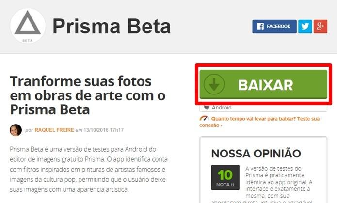 Baixe o Prisma Beta pelo TechTudo Downloads (Foto: Reprodução/Paulo Alves)