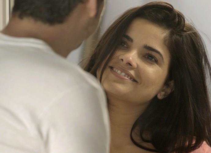 Tóia vibra com declarações de Romero (Foto: TV Globo)