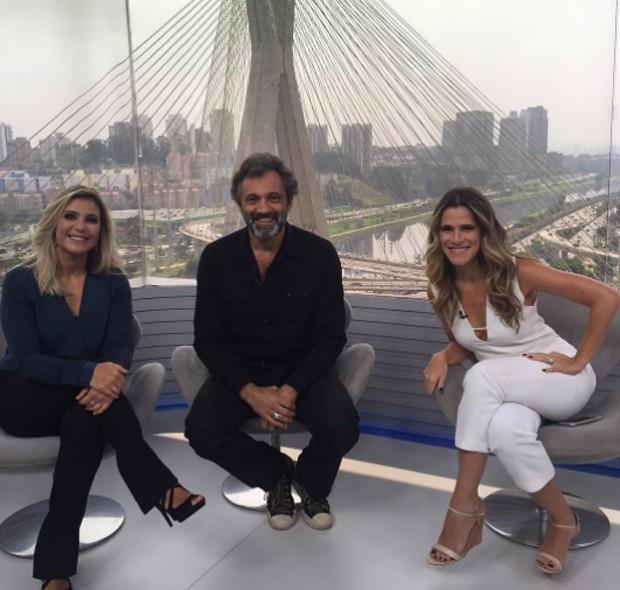 Flávia Freire. Domingos Montagner e Ingrid Guimarães durante entrevista ao SPTV em 3 de setembro (Foto: Reprodução/Instagram)