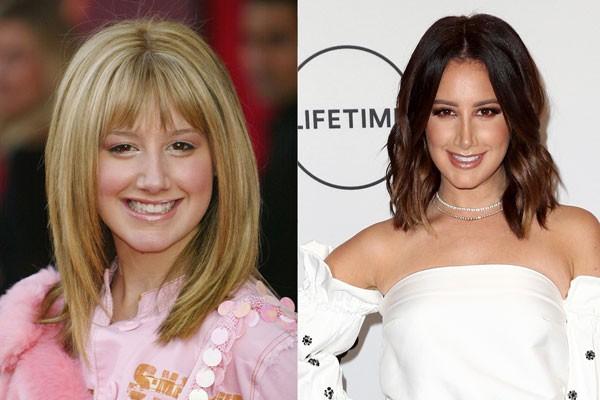 Ashley Tisdale em 2004 e em 2017 (Foto: Getty Images)