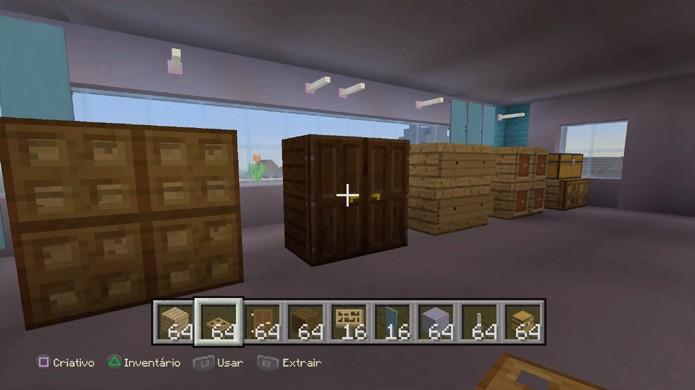 Cômodas e armários são apenas alguns dos exemplos de móveis improvisados que podem ser criados em Minecraft (Foto: Reprodução/Rafael Monteiro)