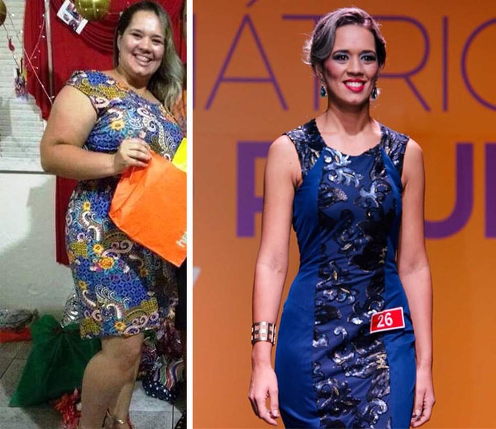 Sabrina antes da cirurgia e no concurso (Foto: Arquivo Pessoal)