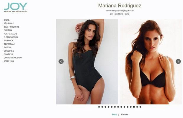 Página de Mariana Rodriguez no site da agência de modelos Joy (Foto: Reprodução/Joy Model Management)