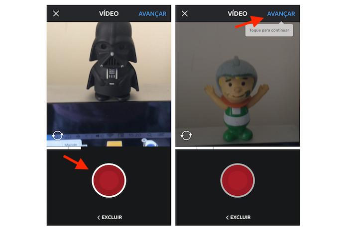 Criando takes em um vídeo com um minuto no Instagram para iPhone (Foto: Reprodução/Marvin Costa)