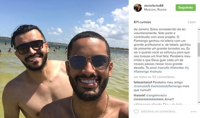 Daniel postou em seu Instagram logo depois o anúncio oficial do Flamengo (Foto: Reprodução/Instagram)