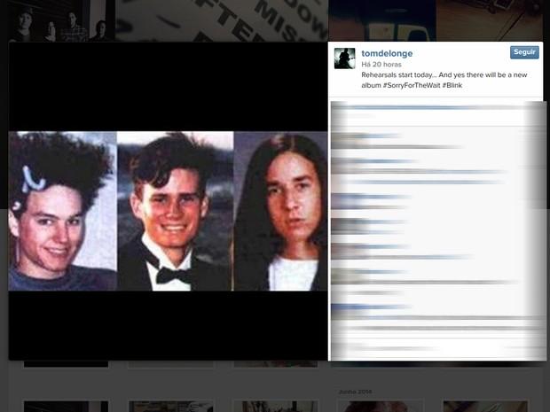 O guitarrista Tom Delonge publicou foto em rede social com anúncio de novo álbum do Blink 182 (Foto: Reprodução/Instagram)