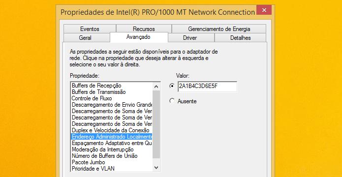 Alterando endereço MAC da placa de rede (Foto: Reprodução/Helito Bijora)