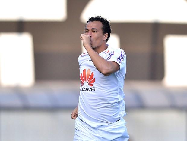 Leandro Damião comemora gol do Santos contra o Botafogo