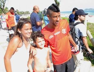 Flamengo Leo Moura treino praia (Foto: Janir Junior / Globoesporte.com)