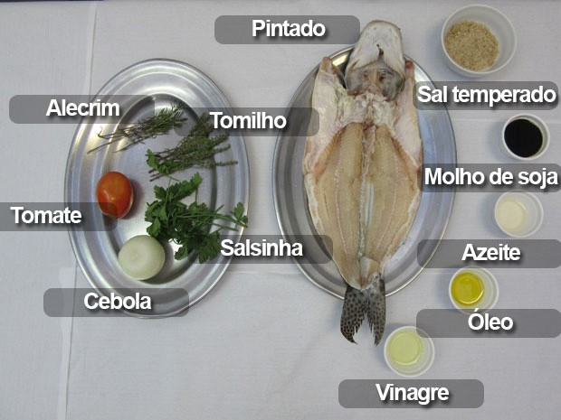 Ingredientes para preparar o pintado grelhado (Foto: Larissa Santos/G1)